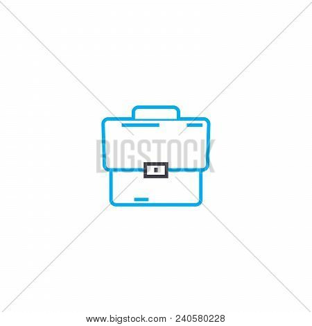 Leather Briefcase Vector Thin Line Stroke Icon. Leather Briefcase Outline Illustration, Linear Sign,