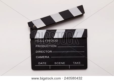 Clapperboard Isolated On White Background. Movie Action Slate Cutout, Film Making And Cinematography