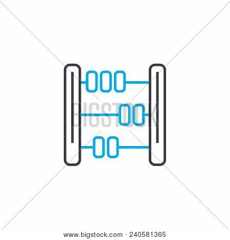 Mathematical Calculations Vector Thin Line Stroke Icon. Mathematical Calculations Outline Illustrati