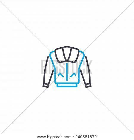 Men's Coat Vector Thin Line Stroke Icon. Men's Coat Outline Illustration, Linear Sign, Symbol Concep