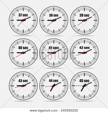 Vector illustration, increments from 37 to 45, one second interval, 3 rows and 3 columns on grey background, for business or education. Watches in flat design. Watches set 1. poster