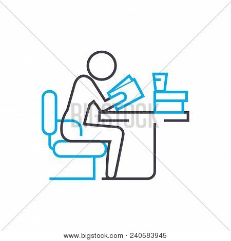Preparation For Classes Vector Thin Line Stroke Icon. Preparation For Classes Outline Illustration,