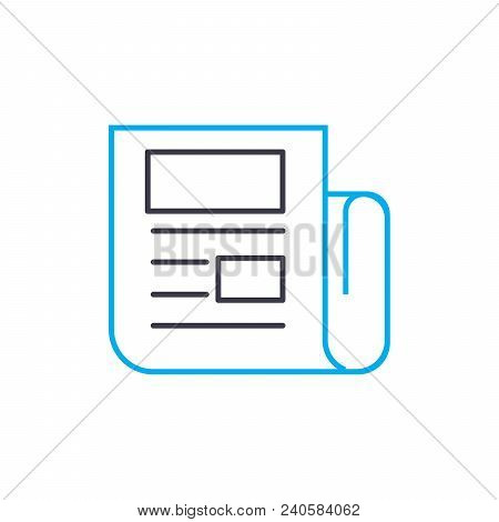Printout Of The Report Vector Thin Line Stroke Icon. Printout Of The Report Outline Illustration, Li