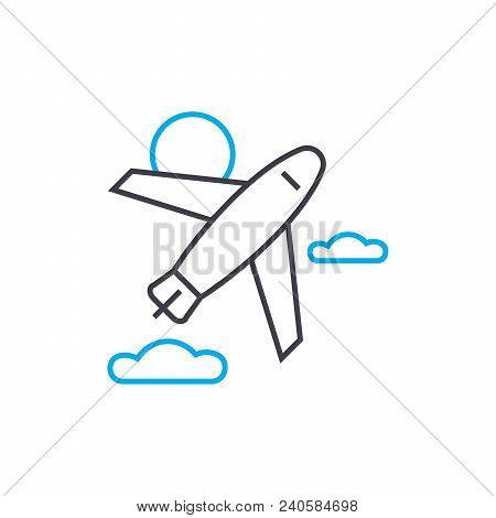 Pursuit Plane Vector Thin Line Stroke Icon. Pursuit Plane Outline Illustration, Linear Sign, Symbol