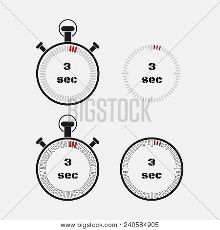 Timer 3 Seconds On Gray Background . Stopwatch Icon Set. Timer Icon. Time Check. Seconds Timer, Seco