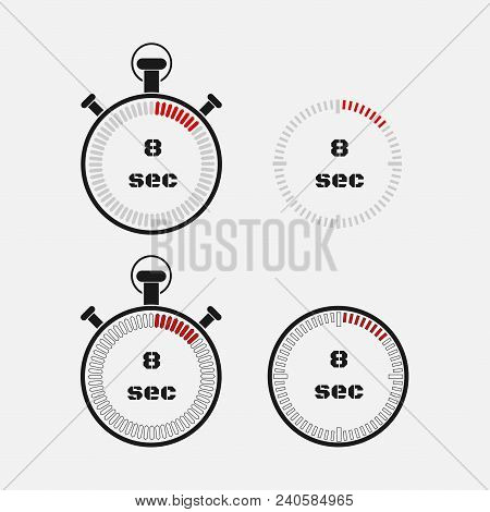 Timer 8 Seconds On Gray Background . Stopwatch Icon Set. Timer Icon. Time Check. Seconds Timer, Seco