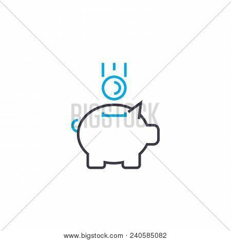 Replenishment Of Fund Vector Thin Line Stroke Icon. Replenishment Of Fund Outline Illustration, Line