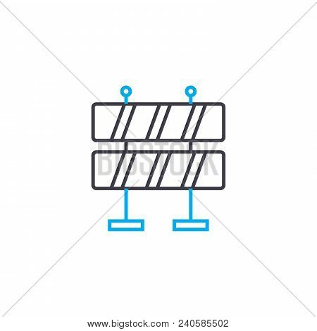 Road Fence Vector Thin Line Stroke Icon. Road Fence Outline Illustration, Linear Sign, Symbol Isolat