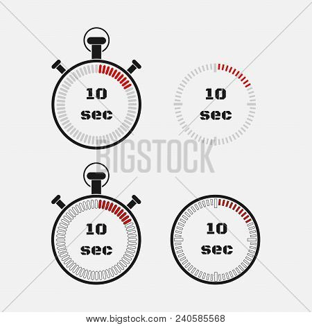Timer 10 Seconds On Gray Background . Stopwatch Icon Set. Timer Icon. Time Check. Seconds Timer, Sec