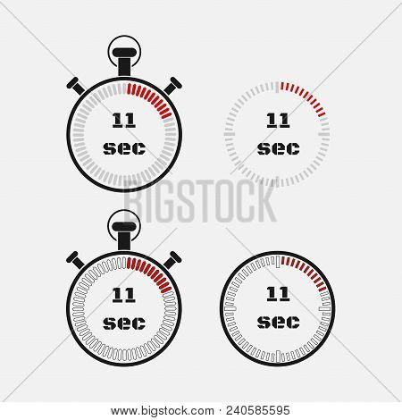 Timer 11 Seconds On Gray Background . Stopwatch Icon Set. Timer Icon. Time Check. Seconds Timer, Sec