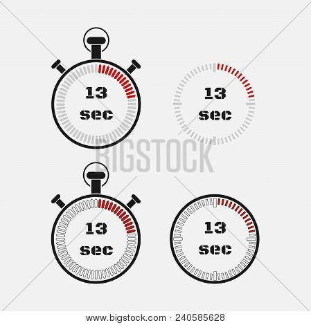Timer 13 Seconds On Gray Background . Stopwatch Icon Set. Timer Icon. Time Check. Seconds Timer, Sec