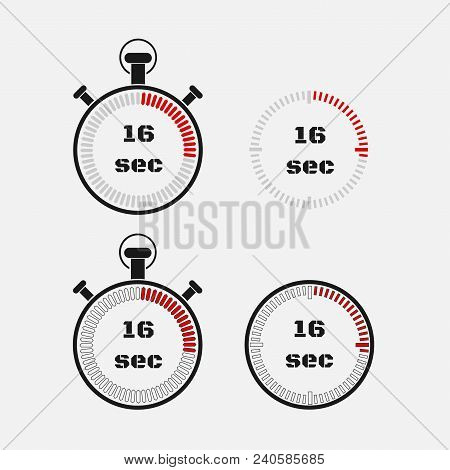 Timer 16 Seconds On Gray Background . Stopwatch Icon Set. Timer Icon. Time Check. Seconds Timer, Sec