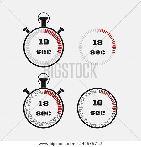 Timer 18 Seconds On Gray Background . Stopwatch Icon Set. Timer Icon. Time Check. Seconds Timer, Sec