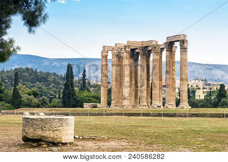 Ruins Of Temple Of Olympian Zeus In Athens, Greece. The Ancient Greek Temple Of Zeus Or Olympieion I