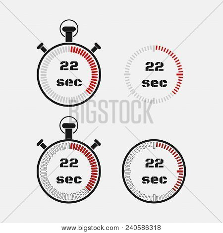 Timer 22 Seconds On Gray Background . Stopwatch Icon Set. Timer Icon. Time Check. Seconds Timer, Sec