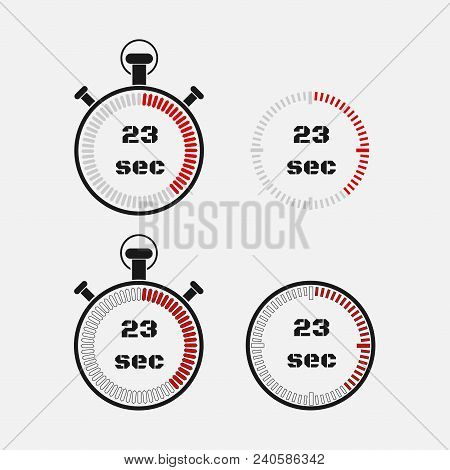 Timer 23 Seconds On Gray Background . Stopwatch Icon Set. Timer Icon. Time Check. Seconds Timer, Sec