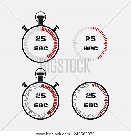 Timer 25 Seconds On Gray Background . Stopwatch Icon Set. Timer Icon. Time Check. Seconds Timer, Sec