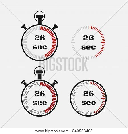 Timer 26 Seconds On Gray Background . Stopwatch Icon Set. Timer Icon. Time Check. Seconds Timer, Sec