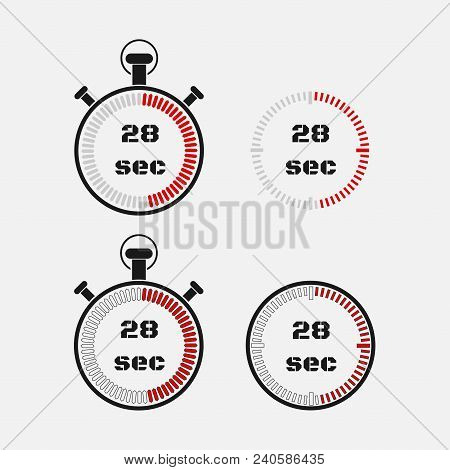 Timer 28 Seconds On Gray Background . Stopwatch Icon Set. Timer Icon. Time Check. Seconds Timer, Sec