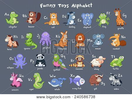 Funny Animals Alphabet. Cute Cartoon Animals With Latin Letters On Dark Background. Plush Toys Colle
