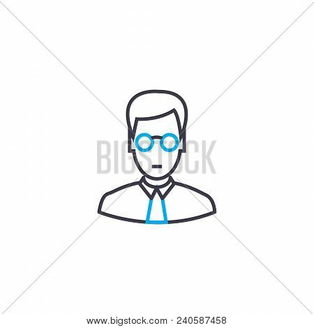 Specialist Of Analytical Department Vector Thin Line Stroke Icon. Specialist Of Analytical Departmen