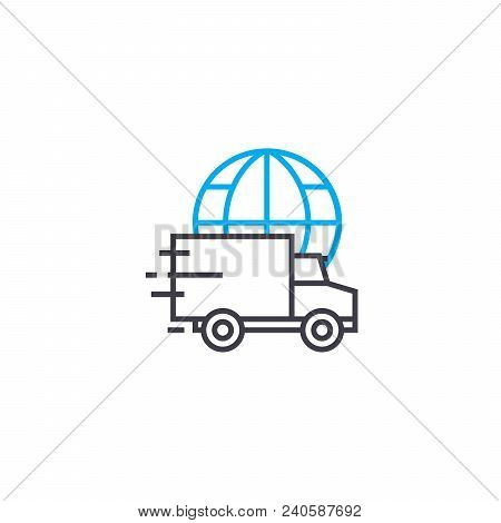 Standard International Delivery Vector Thin Line Stroke Icon. Standard International Delivery Outlin