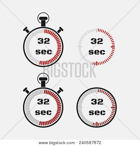Timer 32 Seconds On Gray Background . Stopwatch Icon Set. Timer Icon. Time Check. Seconds Timer, Sec