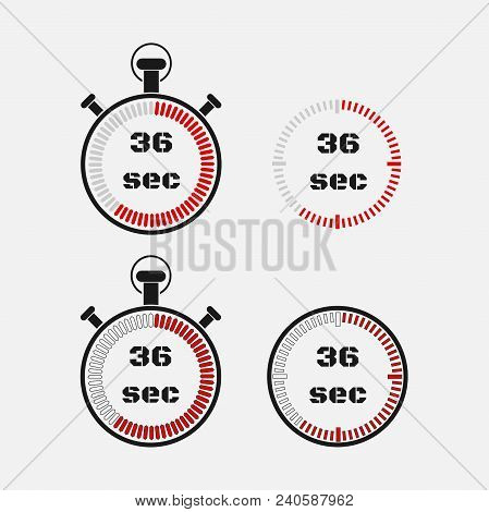 Timer 36 Seconds On Gray Background . Stopwatch Icon Set. Timer Icon. Time Check. Seconds Timer, Sec