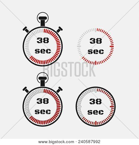 Timer 38 Seconds On Gray Background . Stopwatch Icon Set. Timer Icon. Time Check. Seconds Timer, Sec