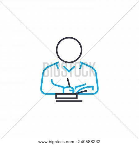 Study Of Literature Vector Thin Line Stroke Icon. Study Of Literature Outline Illustration, Linear S