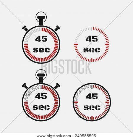 Timer 45 Seconds On Gray Background . Stopwatch Icon Set. Timer Icon. Time Check. Seconds Timer, Sec