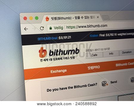 Amsterdam, Netherlands - May 13, 2018: Website Of Bithumb Exchange, A South Korean Cryptocurrency Ex