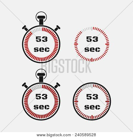 Timer 53 Seconds On Gray Background . Stopwatch Icon Set. Timer Icon. Time Check. Seconds Timer, Sec