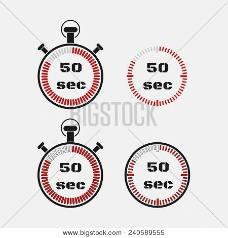 Timer 50 Seconds On Gray Background . Stopwatch Icon Set. Timer Icon. Time Check. Seconds Timer, Sec