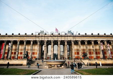 Berlin, Germany 15 February 2018: Old Museum Or Altes Museum. Art Museum In Berlin On The Museum Isl