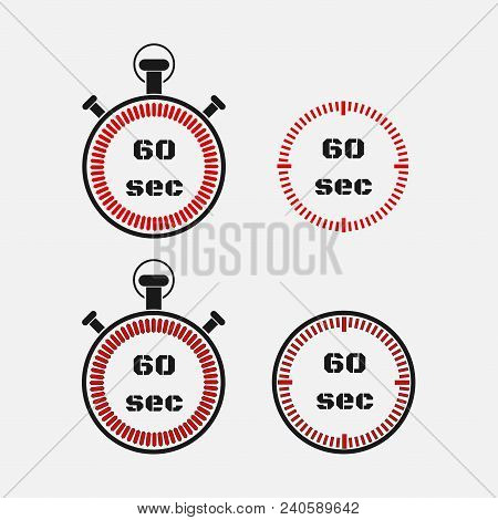 Timer 60 Seconds On Gray Background . Stopwatch Icon Set. Timer Icon. Time Check. Seconds Timer, Sec
