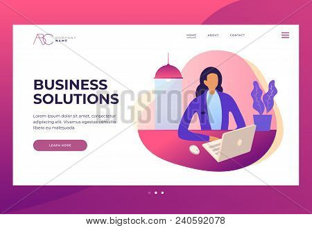 Woman Secretary Or Company Worker Sitting At Table And Working On Laptop Looking At Screen. Design T