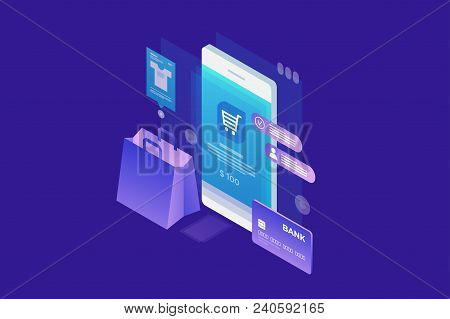 Concept Of Online Shop, Online Shopping. Isometric Image Of Phone, Bank Card And Shopping Bag On Blu