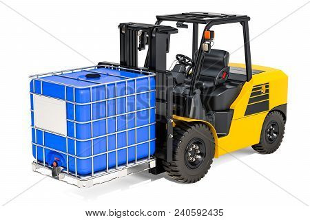 Forklift Truck With Blue Intermediate Bulk Container, 3d Rendering
