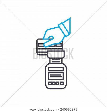 Payphone Transaction Vector Thin Line Stroke Icon. Payphone Transaction Outline Illustration, Linear