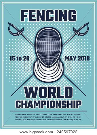 Retro Poster For Fencing Sport. Design Template With Place For Your Text. Vector Championship Game,