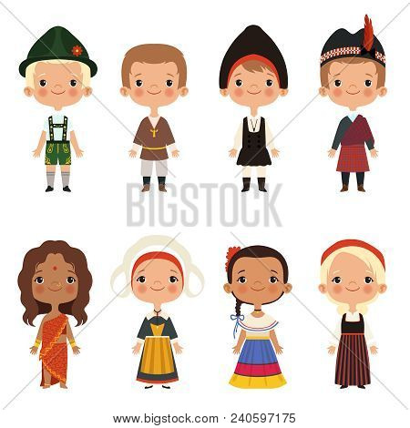 Kids Of Different Nationalities. Vector Children Boy And Girl Ethnic Traditional Costume Illustratio
