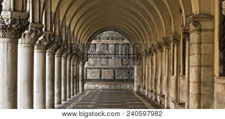 Stone Columns Of Marcos Square N Venice Italy