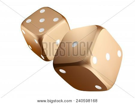 Poker Dice. View Of Golden White Dice. Casino Gold Dice On White Background. Online Casino Dice Gamb