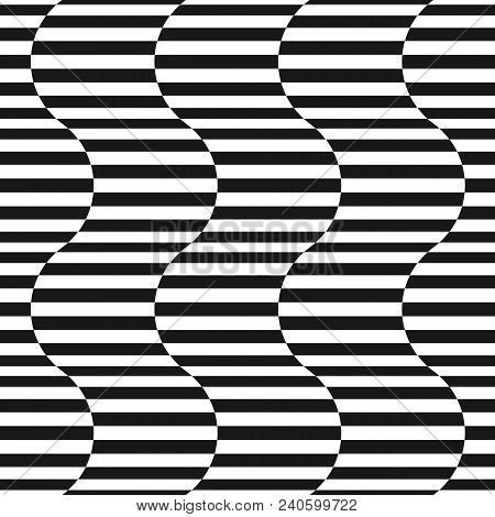 Black And White Stripes Vector Seamless Pattern. Simple Texture With Horizontal Striped Lines, Wavy