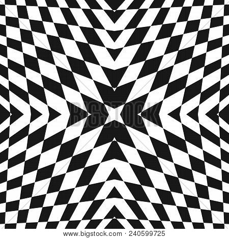 Vector Geometric Checkered Pattern. Black And White Seamless Texture With Cross Shapes, Rhombuses. M