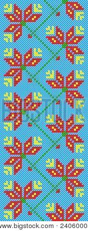 Ukrainian Embroidery Flowers On Blue.eps