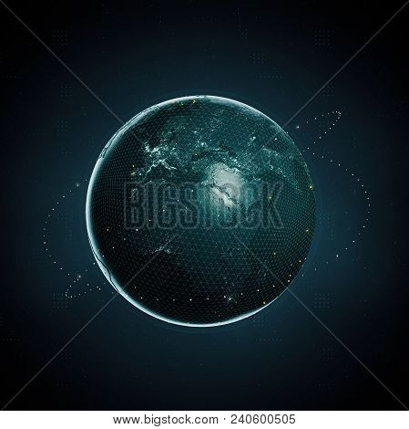 3d Render Of Planet Earth As Digital Image On Dark Background. Blockchain Clobal Crypto Currency Big