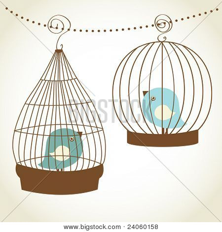 Vintage card with two cute birds in retro cages. Jpeg version