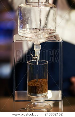 Barista Prepare Coffee Working Order Concept.  Bartender Preparing Coffee Drink